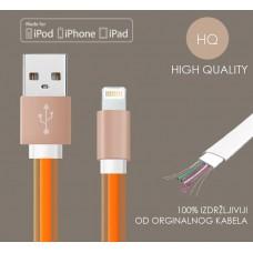 iPhone USB flat kabel, silikonski - HQ